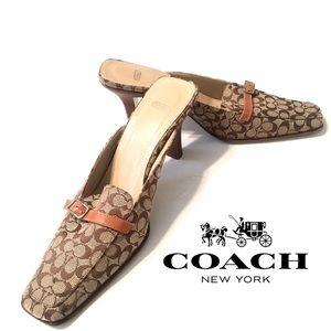 COACH Greta Mule Leather Signature Fabric Heel